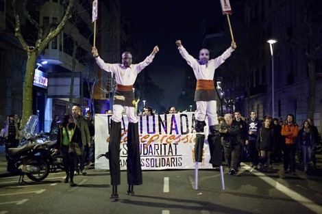 Manifestació en suport als Bastoners Solidaris ( dissabte 22 de març 2014 Vila de Gràcia )